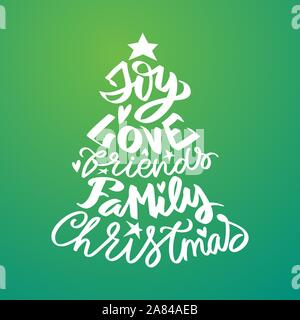 Christmas lettering with cristmas words - joy, family, love, friends - modern calligraphy lettering for postcards, tags, photo overlays, poster, t-shi - Stock Photo