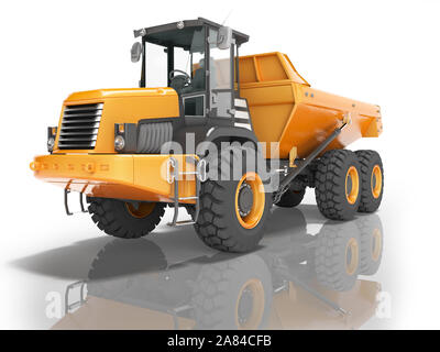 Construction equipment orange dump trucks with articulated frame isolated 3d render on white background with shadow - Stock Photo