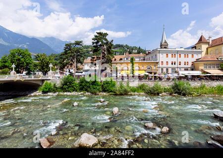 MERANO, ITALY - JULY 20, 2019 - Merano Promenade along the torrente Passirio - Stock Photo