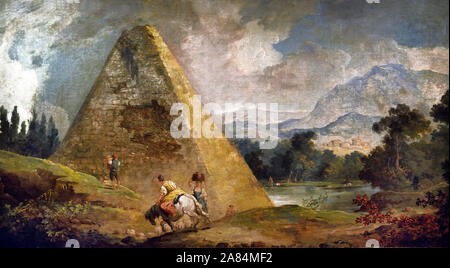 Pyramid of Cestius by Hubert Robert 1733-1808 France French - Stock Photo