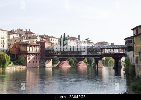 Bassano del Grappa, Italy, 10/22/2019 , the old bridge of bassano, called 'ponte vecchio' during renovation.