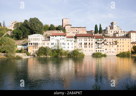 Bassano del Grappa, Italy, 10/22/2019 , view of the buildings on the east side of brenta river in Bassano del grappa.