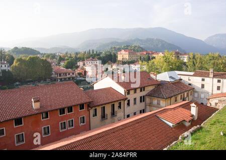 Bassano del Grappa, Italy, 10/22/2019 , view of the city and the hills of the altopiano of sette comuni, on the venetian prealps