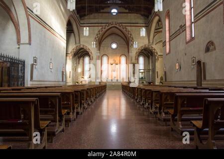 Bassano del Grappa, Italy, 10/22/2019 , Church of San Francesco internal view, in the citu center of Bassano del Grappa.