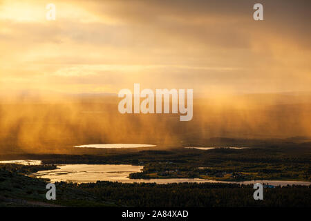 Rain pours down near Levi ski resort in Finland. - Stock Photo
