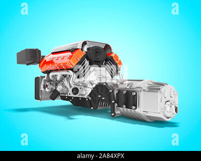 Car engine with air filters and manifold gearbox 3d render on blue background with shadow - Stock Photo