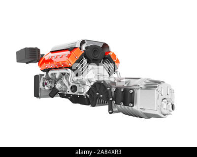 Car engine with air filters and manifold gearbox 3d render on white background no shadow - Stock Photo