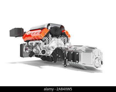 Car engine with air filters and manifold gearbox 3d render on white background with shadow - Stock Photo