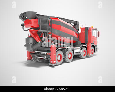 Construction machinery red mixer car for transportation of concrete isolated 3D render on gray background with shadow - Stock Photo