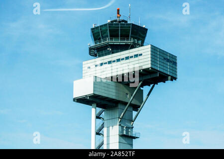 Leipzig Airport Control Tower Germany Halle (Saale) - Stock Photo