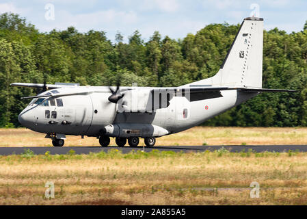 Demonstration of an Alenia C-27J Spartan military transport aircraft of the Italian Air Force. - Stock Photo