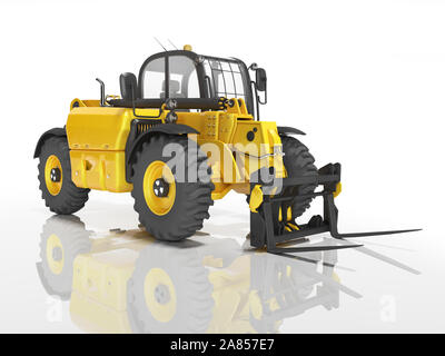 Yellow excavator telescopic loader isolated 3D render on white background with shadow - Stock Photo