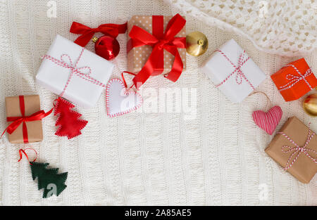 Christmas time. Frame of wrapped holiday gifts - Stock Photo