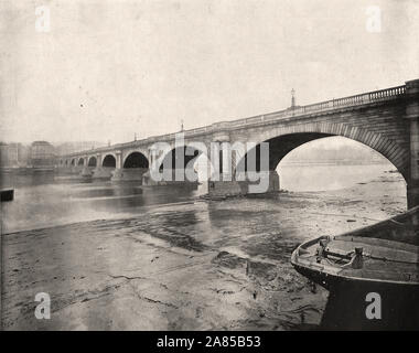 From 'The Descriptive Album of London' by George H Birch 1896 - Extract text : ' WATERLOO BRIDGE is considered the finest stone bridge in the world. It was built by John Rennie, 1811-17, and was to have been called Strand Bridge, but the Of Waterloo happening just as the bridge was finished it was called Waterloo, and opened on the second anniversary of the battle of Waterloo. It cost the company who owned it one million, but was sold to the Metropolitan Board of Works in '1878 for '75,000, when tolls were no longer charged. It consists of arches. each 'O feet across and 35 feet high, and is 4 - Stock Photo