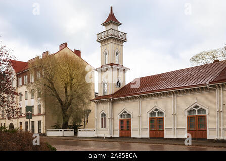 Beautiful wooden house with tower, old fire station, Kotka, Finland - Stock Photo