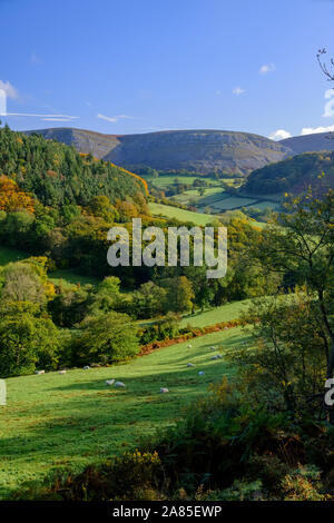 Early autumn colours at Eglwyseg near the Horseshoe Pass Llangollen Denbighshire Wales - Stock Photo