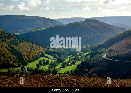 The view out over the Horseshoe Pass from the A542 near Llangollen  Denbighshire Wales - Stock Photo