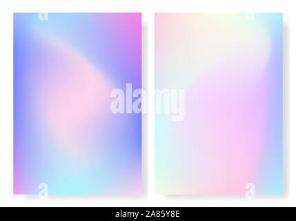 Hologram foil cover. Holographic set of gradient backgrounds. Rainbow retro texture. Trendy colorful template for poster, brochure, flyer or web. Irid - Stock Photo