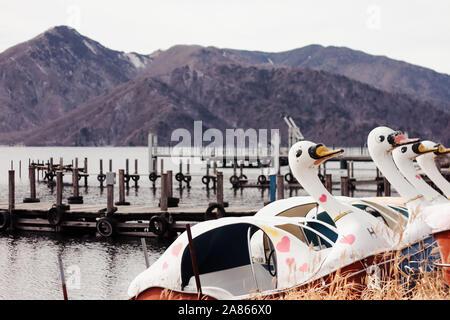 Swan pedalo on Chuzenji Lake in Nikko, Japan