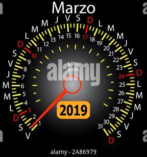 2019 year calendar speedometer car in Spanish March. - Stock Photo