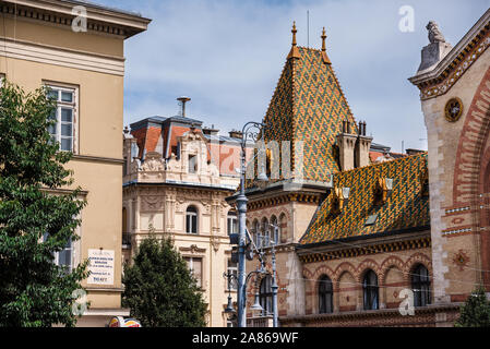Budapest Grand Market Hall Tiled Rooftop View - Stock Photo