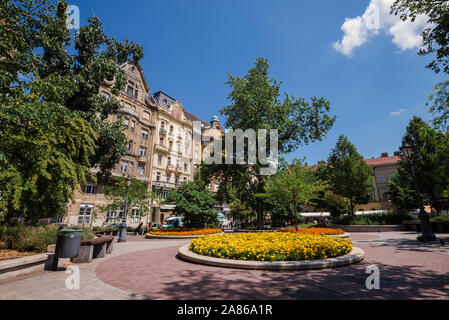 Historical Buildings and Flowers on Fovam Square - Stock Photo