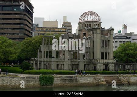 Hiroshima Peace Memorial (Genbaku Dome) on a rainy day - Stock Photo