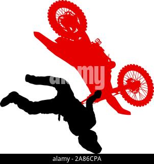 Silhouette of motorcycle rider performing trick on white background. - Stock Photo