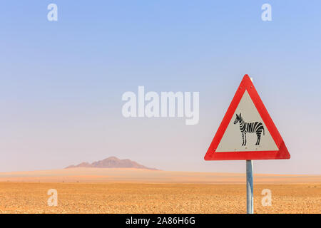 Zebra Crossing Warning Road Sign in Namibia, Africa - Stock Photo