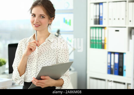 Manager talking about financial statements Stock Photo
