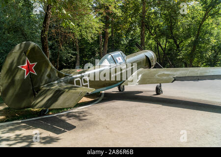 Tashkent, Uzbekistan - September 03, 2018: Old famous Soviet Union fighter aircraft la-5, that was used during WW2, outdoor military museum - Stock Photo