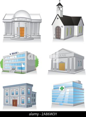 Public building cartoon set 3, church, hospital, police station, museum, high school, bank. - Stock Photo