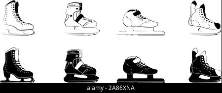 ice skates glyph icons - figure, fitness, Racing, hockey. Type of ice skate boots. Winter sport equipment logo in black outline style. Vector Illustration isolated on white background. - Stock Photo