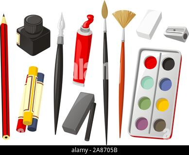 Art Icon Set, with Pencil, crayon, wax crayon, ink, quill, oil paint, brush, rubber, sharpener, watercolor, watercolor paint, charcoal. Vector illustr - Stock Photo