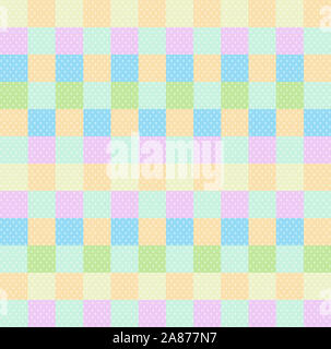 Polka dot checkered background seamless pattern with orange pink blue yellow green squares and checks. Pop art backdrop, baby shower wallpaper, multic - Stock Photo