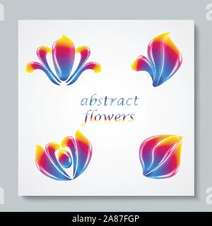 Luxury image logo Rainbow Abstract Flowers Set. Vector illusration - Stock Photo