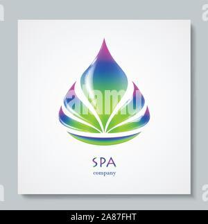 Luxury image logo Rainbow Flower. Business design for spa, yoga class, hotel and resort. Vector illusration - Stock Photo