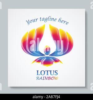 Luxury image logo Rainbow Lotus. Business design for spa, yoga class, hotel and resort. Vector illusration - Stock Photo