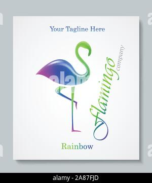 Luxury image logo Rainbow Flamingo. Business design for spa, yoga class, hotel and resort. Vector illusration - Stock Photo