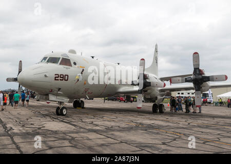 YPSILANTI, MICHIGAN / USA - August 25, 2018: A United States Navy P-3 Orion at the 2018 Thunder Over Michigan Airshow. - Stock Photo