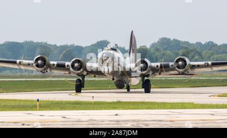 A World War II era B-17 Flying Fortress at the 2018 Thunder Over Michigan Airshow. - Stock Photo