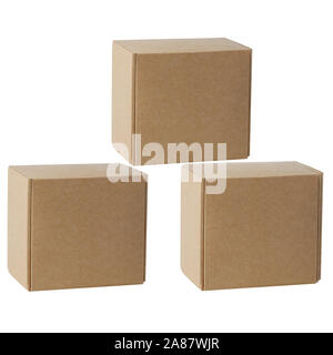 Cardboard boxes for goods on a white background. Different size. Isolated on white background - Stock Photo