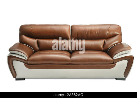 Light Brown leather sofa bench isolated on white background. Furniture showroom photography - Stock Photo
