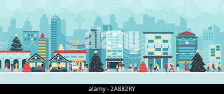 Colorful city with lights at Christmas, people are walking in the street and enjoying together the festive atmosphere, holiday and celebration concept - Stock Photo