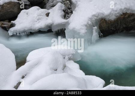 Winter in Partnachklamm near Garmisch-Partenkirchen, Bavaria, Germany Stock Photo