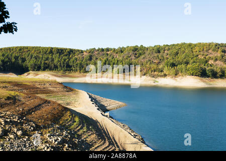 sunset landscapes over the Pertusillo lake in val d'agri, basilicata - Stock Photo