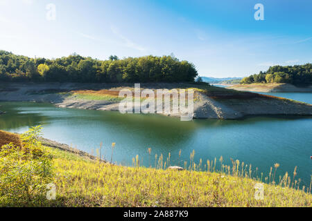 beautiful relax landscapes over the Pertusillo lake in val d'agri, basilicata - Stock Photo