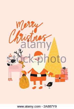 Merry Christmas card template with Santa Claus, reindeer, birds, tree and gift boxes vector illustration. Cute holiday greeting card kids design hand - Stock Photo