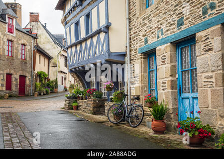 One of the old medieval streets in Josselin, Morbihan, Brittany, France Stock Photo