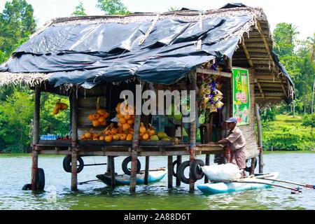 Vendor in srilankan madhu river - Stock Photo